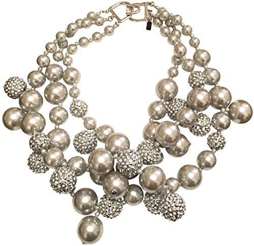 KENNETH JAY LANE-3 ROW SILVER/GRAY BEADS NECKLACE WITH PAVE CRYSTAL BALLS ACCENTS by HamptonGems