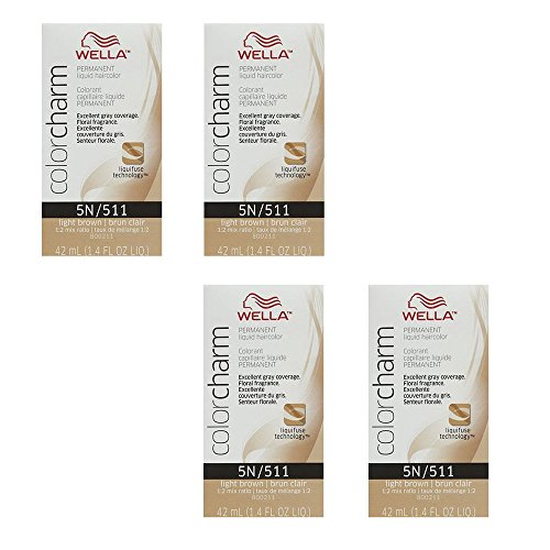 (WELLA COLOR CHARM Light Brown Permanent Liquid Hair Color 1.4 fl oz (4 Pack))