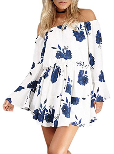 Floral with Vacation Women's Floral Off Boho Shoulder blue Kbook Sleeve Mini Ruffle Dress Cute Belt OZgPqnWBw