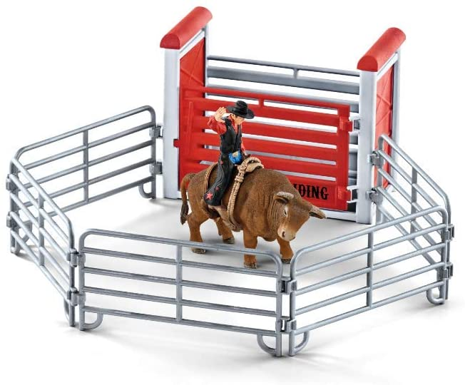 Schleich Farm World Bull Riding with Cowboy 10-piece Educational Playset for Kids Ages 3-8