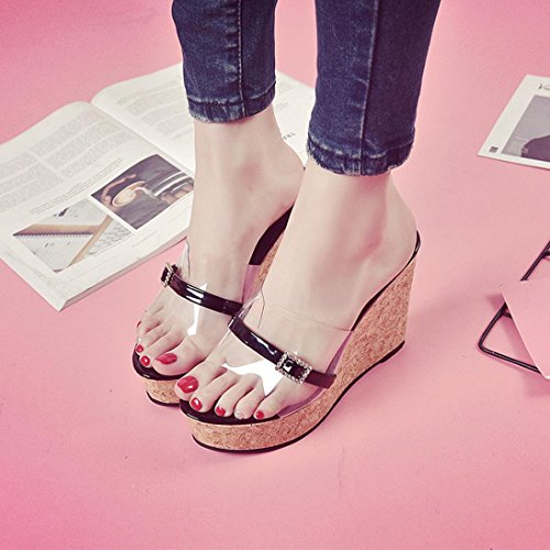 Wedges Platform Flip Transparent Woman's Shoes Black Increasing Summer Shoes Janly® Slipper Flops Height Beach Girls Fashion XEzvxW