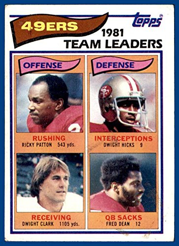 1982 Topps #477 San Francisco 49ers Ricky Patton Dwight Clark Dwight Hicks Fred Dean (poor, see backside pic) -