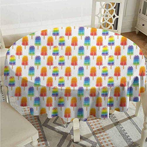 XXANS Tablecloth,Ice Cream,Orange and Rainbow Colored Sugary Treats Popsicles Sweet Tooth Theme Pattern,for Banquet Decoration Dining Table Cover,55 INCH,Multicolor