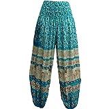 Indian Bohemian Gypsy Elephant White Print Yoga Meditation Harem Pants (Turquoise) For Sale