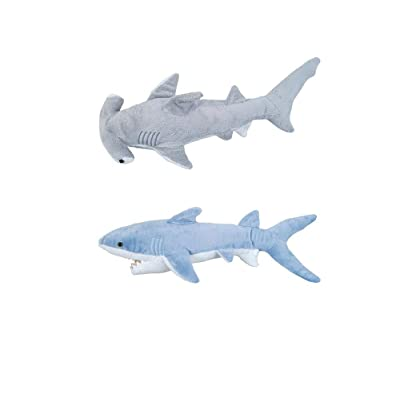Adventure Planet - Set of 2 Plush SHARKS Mako and Hammerhead Shark - Stuffed Animal -Ocean Life - Soft Cuddly Shark Week Tank Toy, 14in. and 13in. set: Toys & Games