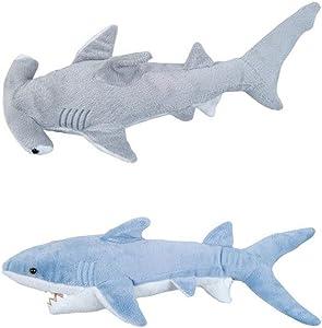 Adventure Planet 2 Plush Sharks Mako and Hammerhead Stuffed Animal Ocean Life Soft Cuddly 14 inch and 13 inch set