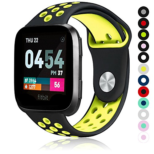 Compatible for Fitbit Versa | Soft Silicone Replacement Sport Band for New Fitbit Versa Smart Watch (Black/Yellow, Small)