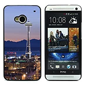 Graphic4You Seattle Washington USA Postcard Design Hard Case Cover for HTC One (M7)