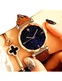 Relojes Mujer Women Watches Rose Gold Romantic Starry Sky Dress Wrist Watch Crystal Rhinestone Ladies Clock
