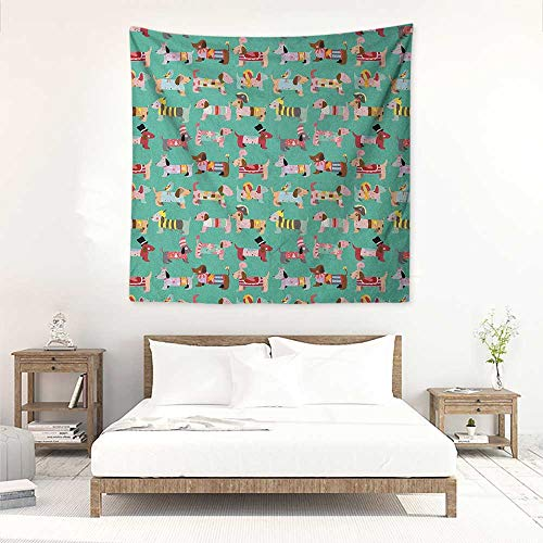 Willsd Dog Lover Wall Tapestry for Bedroom Abstract Puppy Pattern with Human Clothing Fun Dress up Theme Domestic Animals Tapestry for Home Decor 39W x 39L INCH Multicolor -