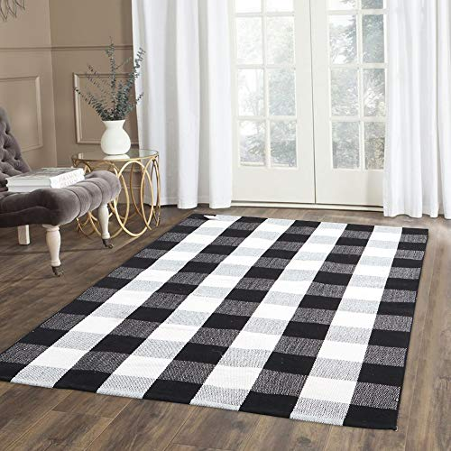 100% Cotton Plaid Rug, KIMODE Black/White Hand-Woven Buffalo Checkered Floor Mats 35.4'' x 59'', Washable Carpet for Porch Doormat Kitchen Rugs (3x5 Outdoor Rug)