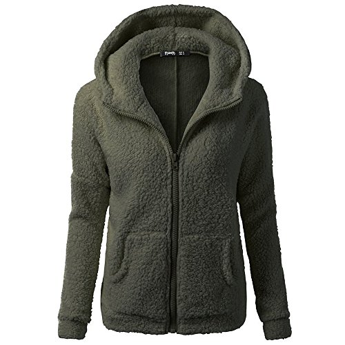Kulywon Women Hooded Sweater Coat Winter Warm Wool Zipper Coat Cotton Coat Outwear