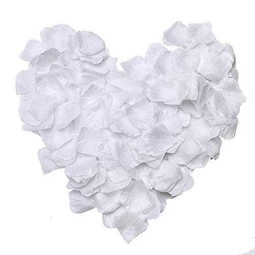 Manfei 2000PCS Silk Rose Petals Artificial Flower Wedding Party Bridal Shower Centerpieces Confetti (White)