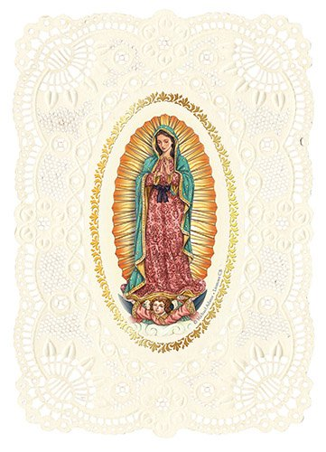 Our Lady of Guadalupe Lace Prayer Holy Cards - Prayer to Our Lady of Guadalupe - Artist Michael Adams on Delicately Embossed and Lace-Punch Cardstock - 36 PACK - YS784