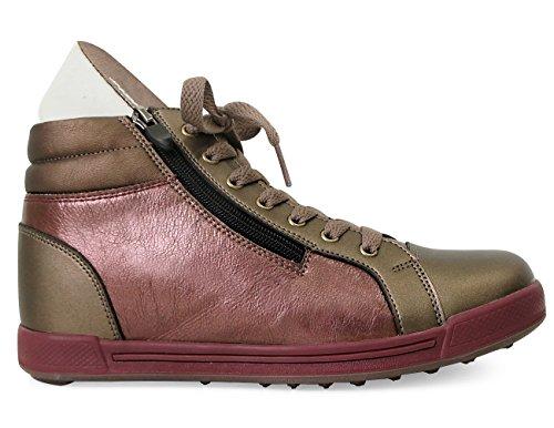 Mnx15 Mens Ascensore Scarpe Altezza Aumento 2.4 Vincent Brown Sneakers Con Zeppa Tacco Alto Sneakers Marrone