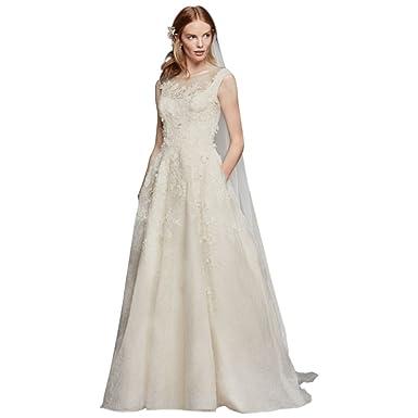 David\'s Bridal Extra Length Oleg Cassini Lace Wedding Dress With ...