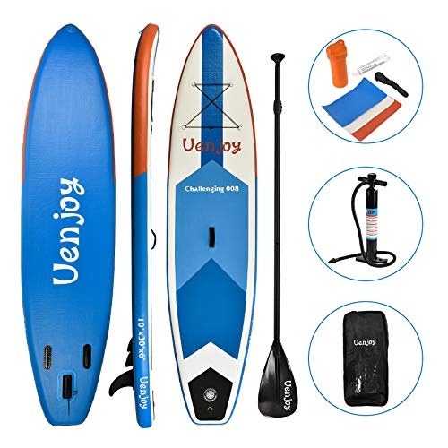 Uenjoy Inflatable Stand Up Paddle Board (6 Inches Thick) Non-Slip Deck Adjustable Paddle, Backpack, Pump, Repairing kit