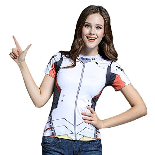 Price comparison product image AestheticCosplay Overwatch Mercy T-Shirt / Short Sleeve Tshirt Muscle Tshirt / Mercy Cosplay Compression Shirt (Extra Small)