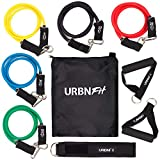 URBNFit Resistance Bands Set (12 Piece) Includes Door Anchor, Ankle & Wrist Strap, Exercise Guide and Carrying Bag for Strengthening and Training (Pro Series)