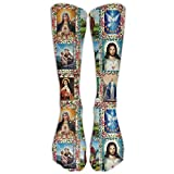 Catholic Saints Images Collage Outh Girl&Womens Funny Color Hip Hop Crazy Pattern Light Thin Middle Tube Crew Socks