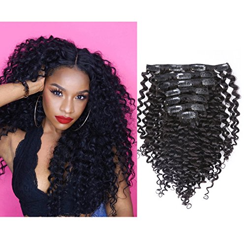 Search : Loxxy Jerry Curly Clip in Hair Extensions 8A Grade Real Remy Human Hair Double Wefts Seamless Thick Fashion Natural Black Hair Full Head For African Americans 10-22inch 120g/set 10 inch