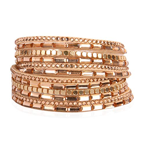 RIAH FASHION Bohemian Faux Suede Leather Wrap Multi Layer Bracelet - Boho Wrist Adjustable Cuff Bangle Crystal Rhinestone/Metallic Bead/Natural Stone Embellishment (Baguette Crystal - Light Brown) ()