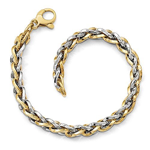 - Roy Rose Jewelry Leslie's 14K Two-tone Gold Polished Fancy Link Bracelet ~ Length 7.5'' inches