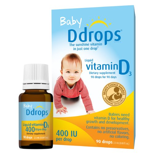 Ddrops Baby 400 IU, Vitamin D, 90 Drops 2.5mL (0.08 Fl. Oz (Pack of 1)) (Best Vitamins For Newborn Baby)