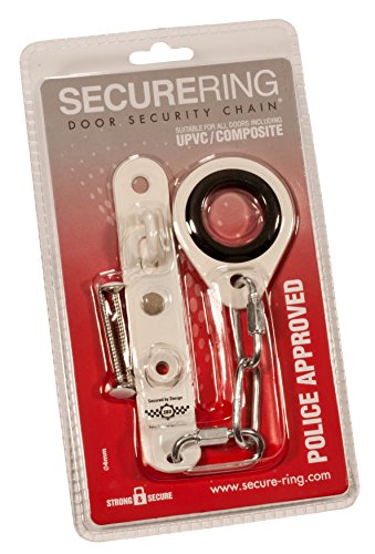 SecureRing Police Approved Door Security Chain - Metal Reinforced and Suitable for All Doors (Chrome) (Outdoor White Housing Slide)