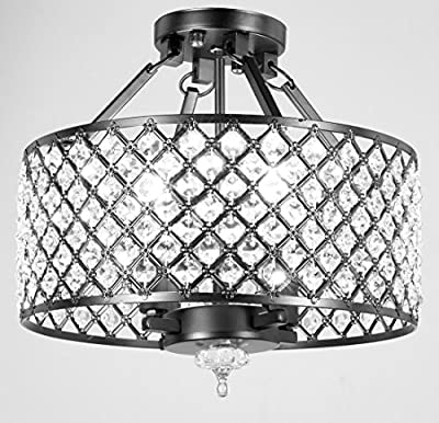 Top Lighting Antique Black Round Shade Crystal Semi-Flush Mount Chandelier 4-light Ceiling Fixture