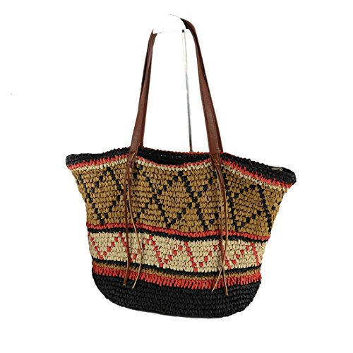 única Talla Bolso EROUGE Straw Mujer de Bags Woven hombro Uqf6Zn8q