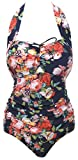 QZUnique Women's Retro Vintage One Piece Swimwear Floral Monokinis Plus Size Navy US XXL