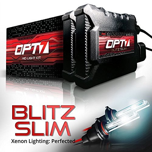 OPT7 Blitz Slim H11 H8 H9 HID Kit - 3.5X Brighter - 4X Longer Life - All Bulb Sizes and Colors - 2 Year Warranty [5000K Bright White Xenon Light]