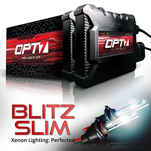OPT7 Blitz Slim 9006 HID Kit - 3.5x Brighter - 4x Longer Life - All Bulb Sizes and Colors - 2 Yr Warranty [5000K Bright White Xenon Light]