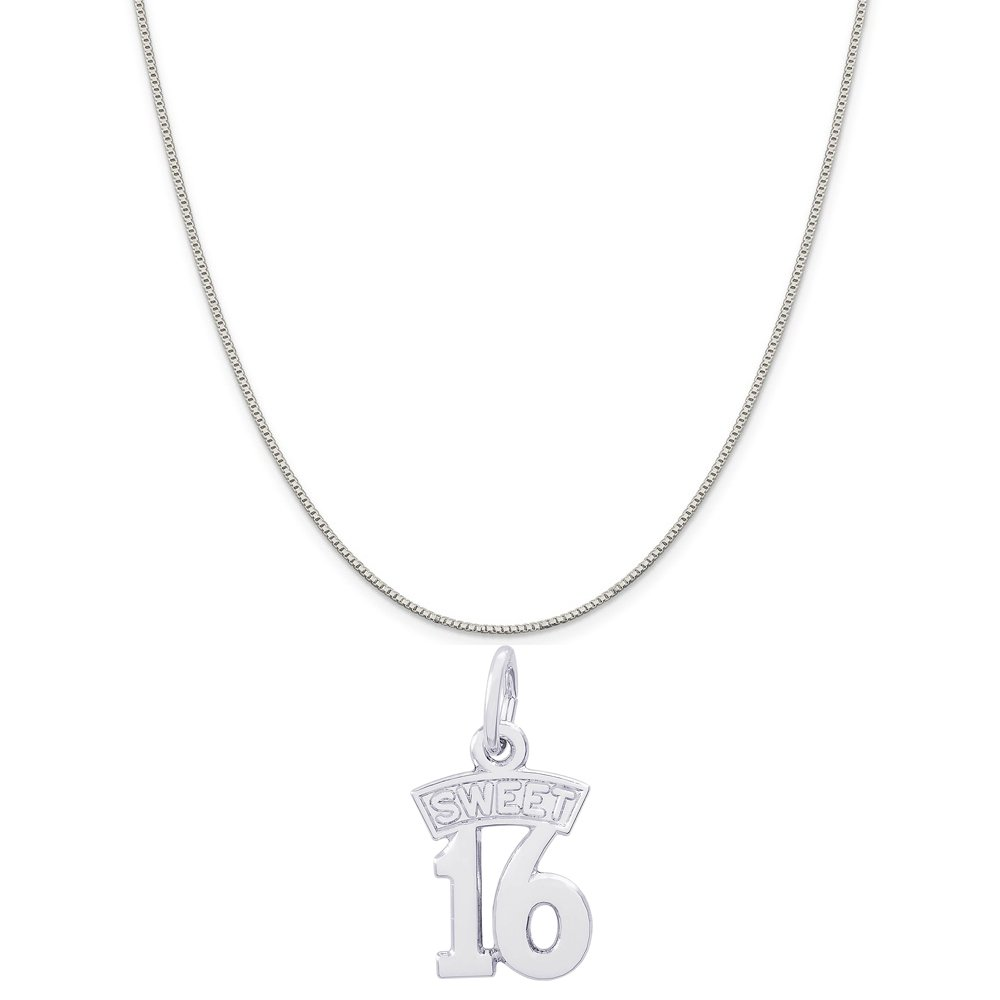 18 or 20 inch Rope Box or Curb Chain Necklace Rembrandt Charms Sterling Silver Sweet Sixteen Charm on a 16