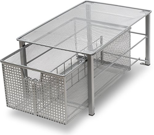 DecoBros Mesh Cabinet Basket Organizer, Silver (Large - 10 x 15.8 x 7.5) by Deco Brothers