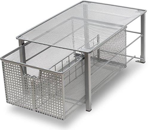 DecoBros Mesh Cabinet Basket Organizer, Silver (Large - 10 x 15.8 x 7.5)