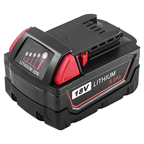 6.0Ah High Capacity Replacement Battery Compatible with Milwaukee M18 18V Lithium Battery XC 48-11-1852 M18B 48-11-1850…