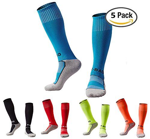 Cloth Shin Instep Pad (Boys/Girls Outfits Compression Long Sport Knee High Football & Soccer Socks Pack (Kids/Youth Gifts) 5 Pair Black&Azure&Red&Orange&Green)