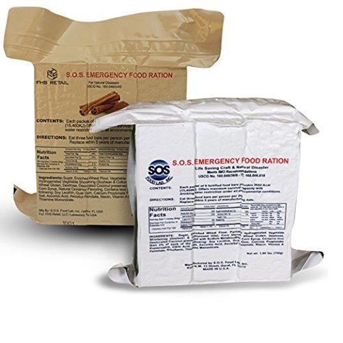S.O.S. Rations Emergency 3600 Calorie Food Bar (Cinnamon + Coconut, 2 Pack) (Best Emergency Food Rations)