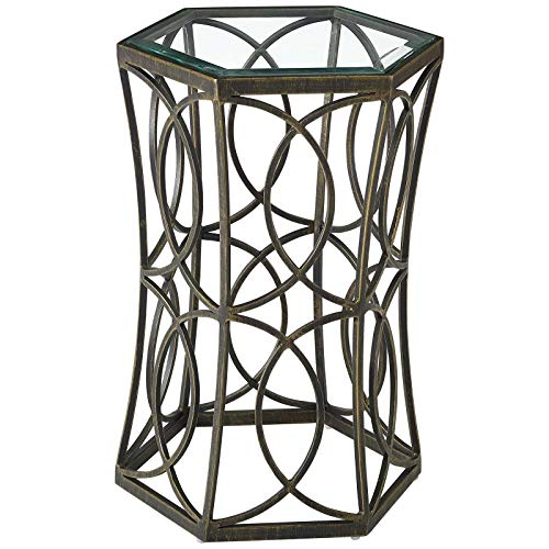 Iron Brass Top Polished Cast - America Luxury - Tables Industrial Country Cottage Farm Beach House Living Lounge Lobby Soda Side Table, Metal Steel, Black