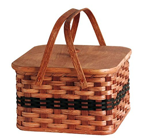 Amish Handmade Square Double Pie Basket w/Inside Tray, Lid, and Two Swinging Carrier Handles (Green w/o Liner, Large)