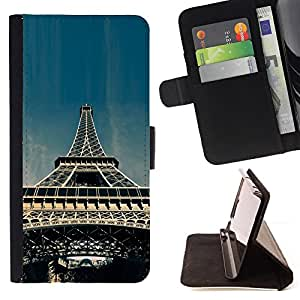 KingStore / Leather Etui en cuir / Samsung Galaxy S4 IV I9500 / Torre Eiffel de París