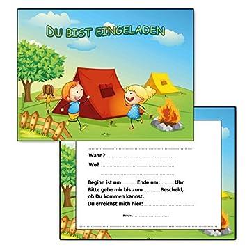 Camping Einladungskarten Kindergeburtstag Einladungen Campen (10 Stück)  Einladung