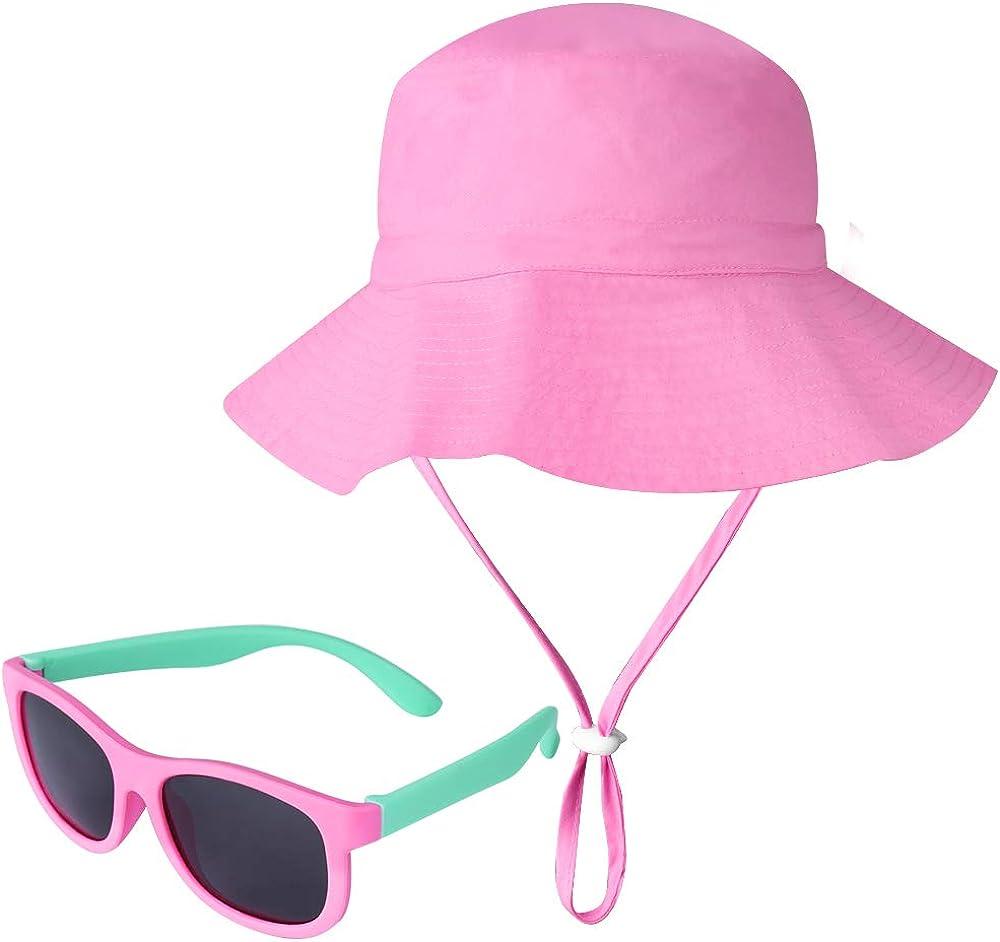 ONESING 2 Pcs Baby Sun Hat Toddler Sun Hat Summer Beach UPF 50+ Sun Protection Baby Girl Sun Hat Flexible Kids Polarized Sunglasses Wide Brim Bucket Hat Cap for Baby Girl Kid Pink