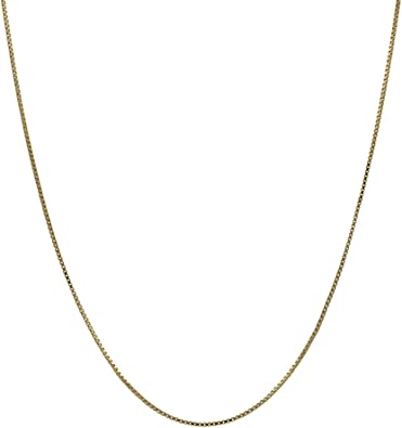 Amazon Com 14k Thin Solid Yellow Gold 0 5mm Box Chain Necklace 16 Inches Clothing