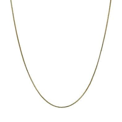 Amazon.com  14K Thin Solid Yellow Gold 0.5mm Box Chain Necklace - 16 ... 736020f8e539