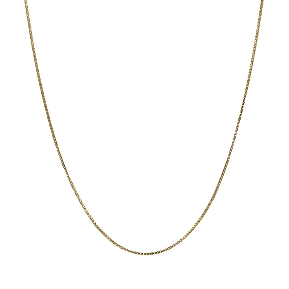 14K Thin Solid Yellow Gold 0.5mm Box Chain Necklace - 20 Inches