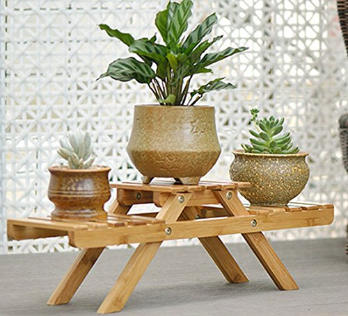 Bamboo Flower Racks Plant Stand Decorative Planter Holder Desktop Flower Pot Shelf (Plant Stand Decorative Planters)