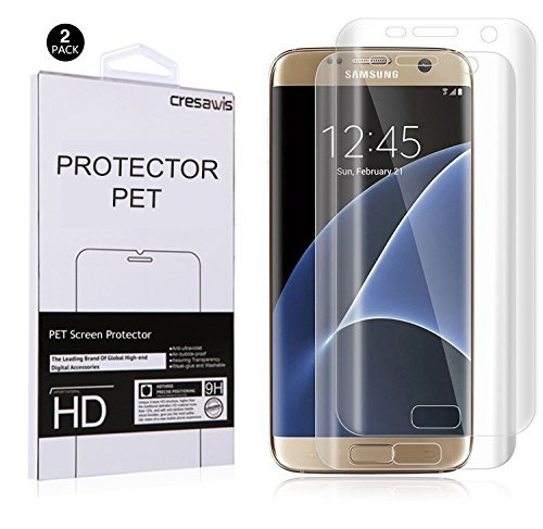 Galaxy S7 Edge Screen Protector [Not Tempered Glass] ,cresawis Samsung Galaxy S7 Edge PET Screen Protector [Case Friendly] w/ Lifetime Replacements[2 PACK]